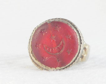 Vintage 40's Persian Crescent and Stars Intaglio Signet Ring Carnelian Glass Persian Intaglio Ring Crescent and Stars Persian Ring