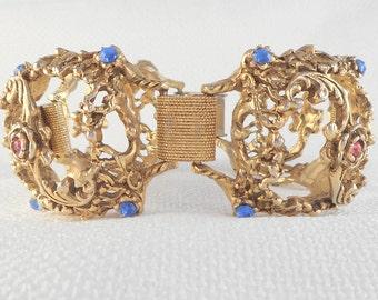 Vintage Wide Open Dome Link Bracelet Mid Century Wide Open Link Bracelet with Stones Pink and Blue Bracelet Unique Vintage Bracelet