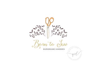 Sewing logo design, Scissors logo, Etsy shop logo, Boutique Logo, Floral logo with calligraphy, Handmade business branding, Crafting logo