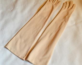 Vintage Elbow-Length Gloves - Tan, Stretch Nylon, size 6 - 6 1/2