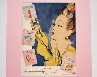 Vintage Home Decor, 1943 Coty Make Up Advertisement Matted 16x20, Bedroom Wall Art, Bathroom Decor, Beauty Salon Decor, Original Magazine Ad