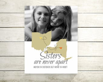 Sisters Long Distance Map | Two States Map | Going Away Gift for BFF | Birthday Gift | Personalized Map | Valentines Day Gift - 52377