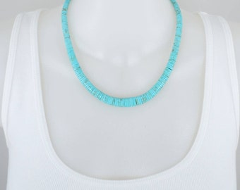 Graduated Turquoise Heishi Bead Necklace, 9mm To 4mm, 18 Inch Strand, Bead Necklace, Turquoise Necklace, Magnetic Clasp