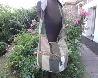 big green Balloonbag - Patchworkbag - upcycling Bag - Shoulderbag -  Bag with Border - Boho Bag - big Bag