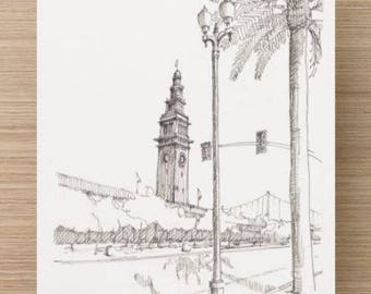 Ink Sketch of Ferry Terminal Building in San Francisco, California - Drawing, Art, Architecture, Palm Tree, Pen and Ink, 5x7, 8x10, Print