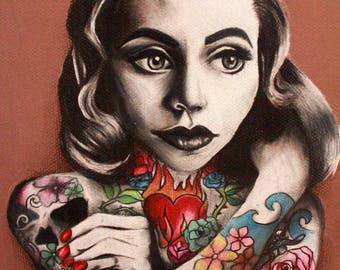 Tattooed Woman Print