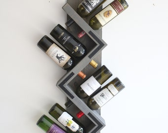 Zig Zag Wine Rack, Wood Wall Wine Rack, Rustic Wine Storage, Wine Bottle Display