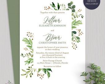 Greenery Wedding Invitation Botanical Wedding Invitations Outdoor Wedding Invite Rustic Wedding Invitation Greenery Wedding Invite - 2016