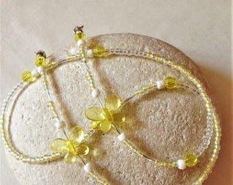"Girls Beaded Eyeglass Chain/ Kids Girls Glasses holder Necklace/ Yellow Butterfly Eyewear Cord/ Eyeglass Glasses Chain For Girls [20""]"