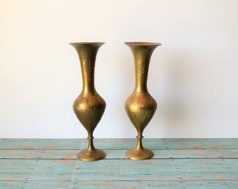 2 Etched India Brass Vases