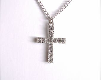Cross Necklace, Clear Rhinestone Pendant Necklace, Rhinestone Cross Necklace, Faith Necklace, Cross Jewelry, Gift For Christmas