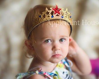 Wonder woman Headband,Wonder Woman  Crown,Super Hero Crown,baby wonder woman Birthday Crown, Baby Girl Super Hero Birthday Crown
