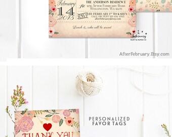 Sweetheart Birthday Invitation, Valentine Day Birthday Invitations, Girl Valentine Birthday Invitation Printable OR Printed  No.805KIDS (V3)