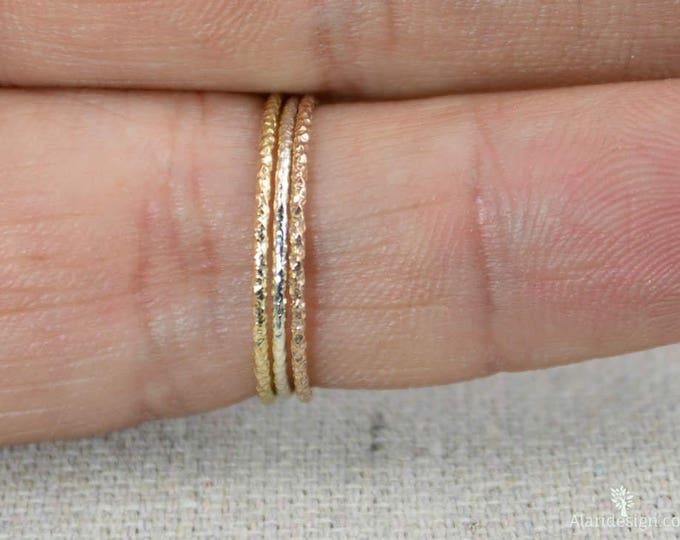 Thin Round Faceted Ring Set, Sterling Silver, 14k Gold Fill, 14k Rose Gold Fill, Dainty Ring Set, Minimal ring set, Stacking Ring Set