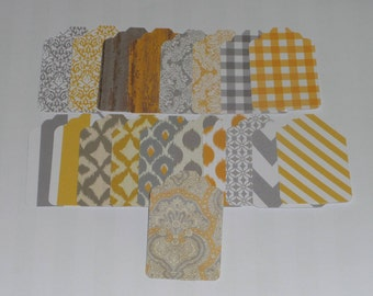 Set of 20, Yellow and Gray Print Gift Tag, Label, Tag, Embellishment, merchandise tag,  unstrung