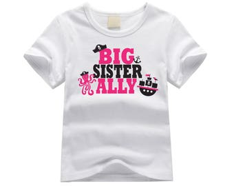 Personalized big sister shirt. Big sister pirate theme. Pirate ship big sister shirt. Big sister announcement. Octopus pirate big sister tee