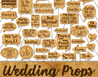 Wedding Photo Booth Prop Signs and Decorations - Vintage Paper Style Wedding Printables -Over 50 Images - Printable Wedding Photobooth Props