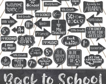 Back To School Photo Booth Props and Decorations - First Day of School Photo Props - Printable School Signs - Chalkboard Photobooth Props