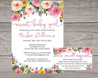 Floral Baby Shower Invitations for a Girl - Flower Invitations and Envelopes - Watercolor Baby Shower -  Spring Invitations Baby-111