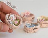 Dollhouse crochet work in progress in scale 1:12, basket with crochet work dollhouse miniature, choose your model