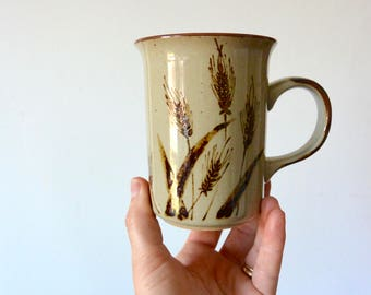 Earthy Wheat Glazed Ceramic Mugs