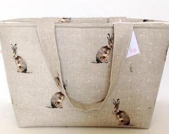 Tote Bag, Hartley Hare Zippered Bag, Medium Tote Bag, Knitting Bag, Craft Bag, Overnight Bag, Shopping Bag, Everyday Bag, Knitting Project