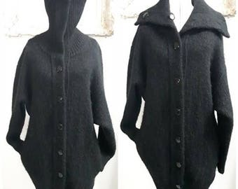 Vintage 80s Oversized Mohair Cardigan, Sweater Jacket