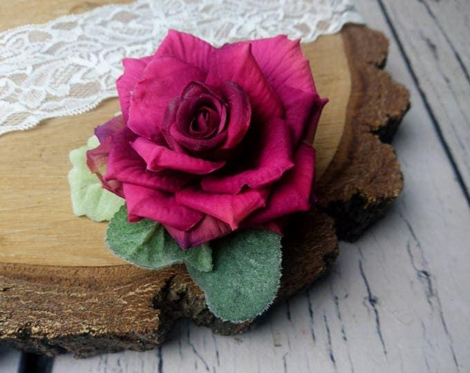 Wedding boutonniere burgundy pink realistic silk flowers dusty miller flocked leafs greenery marsala wine rose groom groomsman set