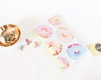 DONUT Zipper Pouch.Cute Zipper Travel Pouch.Donut Lover Gift.I Love Donuts Bag.Donut Pencil Case.Pencil Pouch.Cute School Supply.School Gift