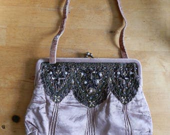 Vintage 1990's ACCESSORIZE Crushed Pale Peach Satin Beaded Evening Bag / Purse