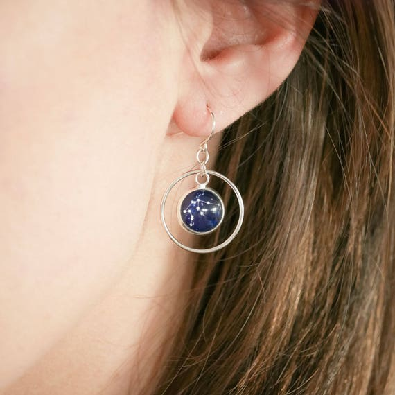 Personalised Zodiac Dangle Hoop Earrings