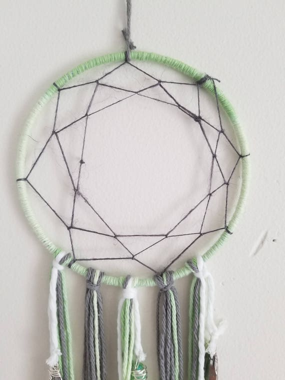 Dreams of the Heart : Dream Catcher with Reiki Attuned Green Luster Quartz