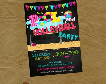 MOVIE and VOLLEYBALL Swimming Party Invitation  - Digital or Printed