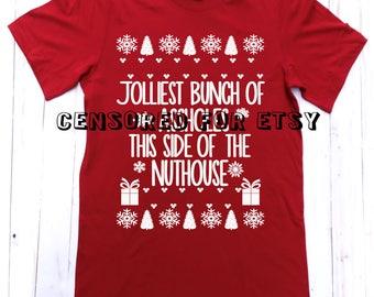 Christmas Shirt, Funny Christmas Shirt, Gift, Unisex, Believe, Jolliest Bunch of, Christmas, Vacation Shirt. Mens and womens christmas shirt