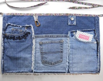 Upcycled Denim Server Apron / #7 in Series /  Upcycled Denim Jean Five Pocket Waist Apron