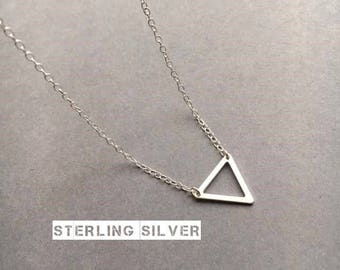 Triangle Necklace, Sterling Silver Necklace, Silver Triangle Necklace, Geometric Necklace, Minimal Necklace, UK Seller,Mothers Day Gift