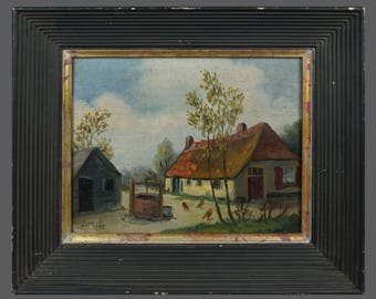 Vintage J. May Landscape Oil Painting Art Cottage Farm Village Free Range Chickens 12 x 10