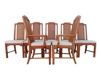 VVH Vintage Set of 7 Cane Back Pagoda Dining Chairs by Dixie Furniture Company Asian Ming Mid Century Modern Chinoiserie Hollywood Regency