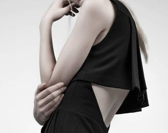 Pleated, little black dress, pleated back detail