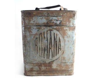 French Romana Petrol Tin Can, Gas Jerrycan