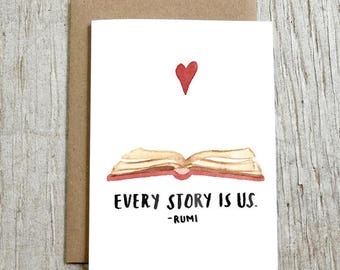 Every Story Is Us Rumi Watercolor Card, Anniversary Card, Love Card by Little Truths Studio
