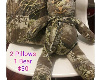Army Camouflage Sports Man Cave Hunting Bear by Vintage Angel. Can make custom using your fabric as a Memory Bear, contact me