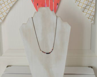 Wanderlust Necklace -Lava Bead Necklace with Czech Beads