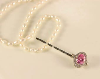 White Gold Stick Pin Rose Pink Hair Pin Wedding Hair Clip Victorian Gold Pink Sapphire Head Pin Crystal Hair Comb Bridal Silver Head Piece