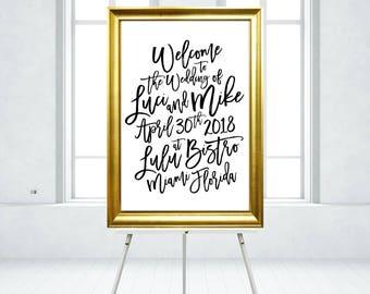 18 x 24 FRAMED PRINT . Gold & Black Bold Calligraphy Welcome Sign Madina Script Brush Ink . PRINTED on Foam Board - Wood Frame No Glass