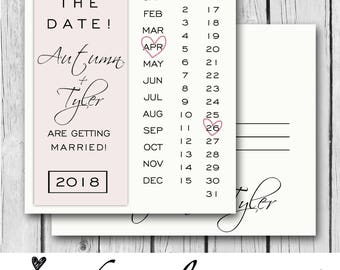 SAVE THE DATE, Post Card, Blush, Ivory, Any Color/s, Calligraphy, Hearts  - Wedding Invitation / Bridal Shower / Baby Shower / Birthday