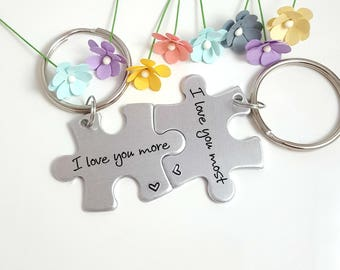 Puzzle Keychains, Couple Keychains, Christmas Gift for Boyfriend, Personalized For Him, One Year Anniversary Gift, Couples Gift, Girlfriend
