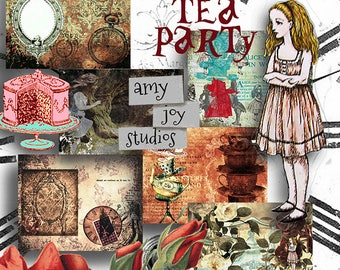 Mad Tea Party  Alice in Wonderland Journal  Digital Junk Journal  Junk Journal Printable  Digital Journal Pages  Junk Journal Inserts  Mini