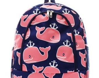 Preppy Whale Print Monogrammed School Backpack