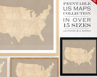 Usa Travel Map Etsy - Printable us map states